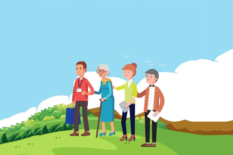 Famille prenant soin d'un majeur protégé grace au service d'information et de soutien aux tuteurs familiaux d'ATRD